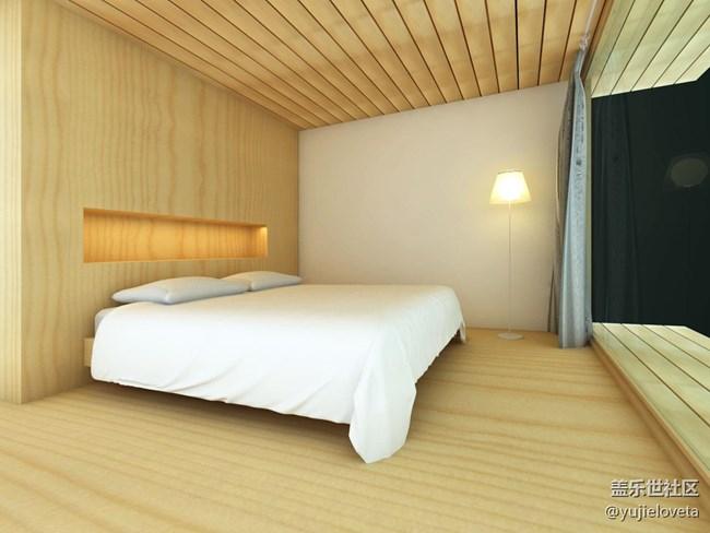 一个简单的卧室.