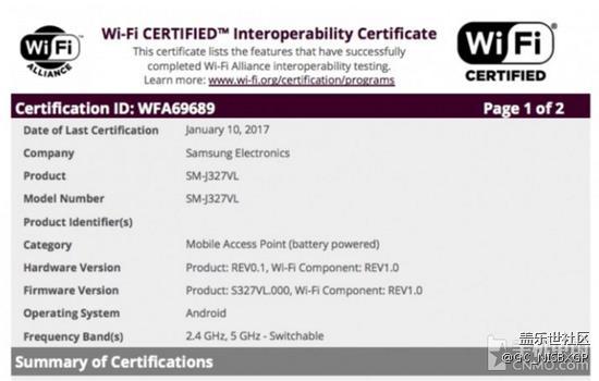 三星Galaxy J3(2017)已经获得Wi-Fi认证