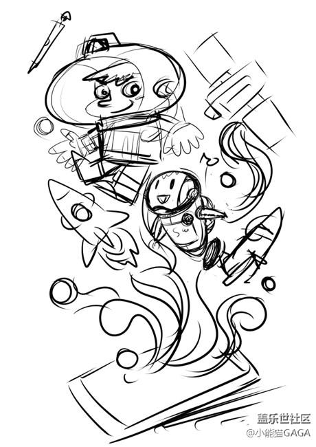 小能猫爱画画-小星卡通创意设计