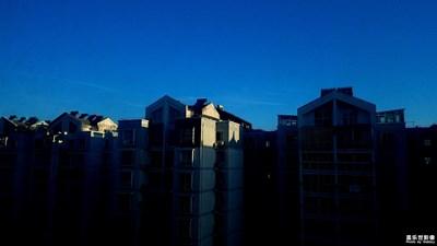 早晨,蓝,天空。