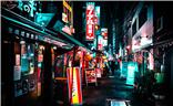 日本东京之夜新桥随拍